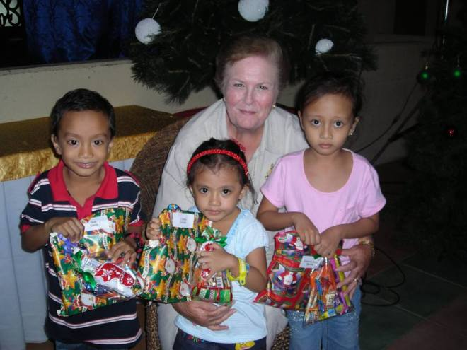 Pat with Children in Philippines - 2